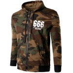 cheap Zip-Up 666 Print Camouflage Hoodie