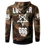 Zip-Up 666 Print Camouflage Hoodie deal