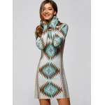 cheap Turtle Neck Tribal Sweater Dress