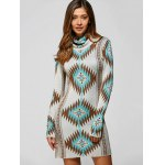 Turtle Neck Long Sleeve Geometric Mini Sweater Dress