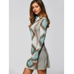 Turtle Neck Long Sleeve Geometric Mini Sweater Dress deal