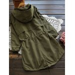 cheap Hooded Drawstring Field Trench Coat