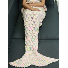 Knitted Openwork Fish Scale Design Mermaid Blanket For Kids