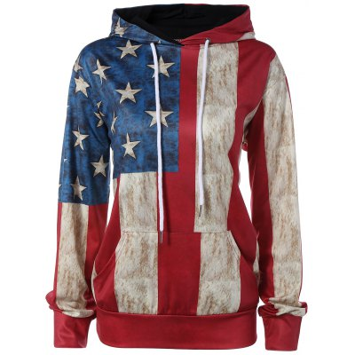 American Flag Print Pocket Design Hoodie