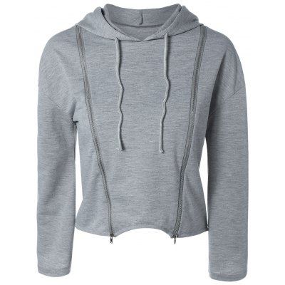 String Cropped Zippered Hoodie