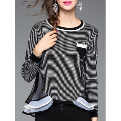 Striped Ruffled Patchwork Knitwear