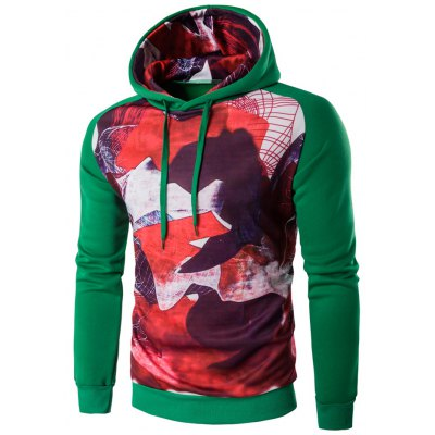 Raglan Sleeve Abstract Printed Pullover Hoodie
