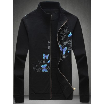 3D Butterfly Print Zip-Up Jacket