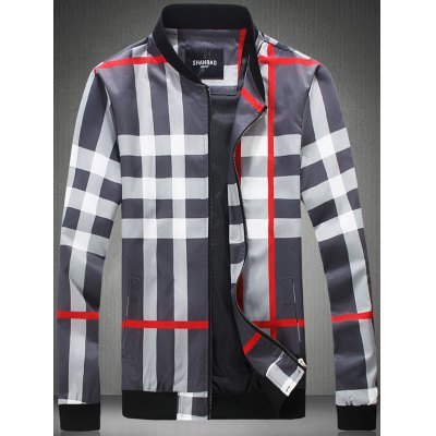 Color Block Checked Print Zip-Up Jacket