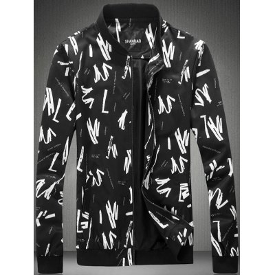 Plus Size Abstract Graphic Print Zip-Up Jacket