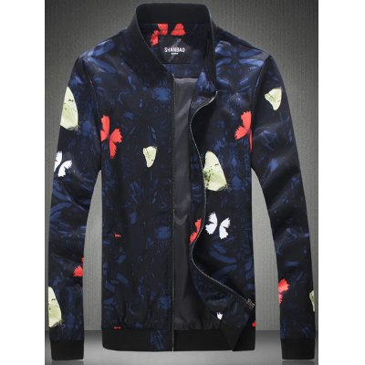 Plus Size 3D Butterfly Print Zip-Up Jacket