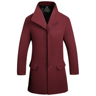 Stand Collar Covered Button Lengthen Woolen Coat