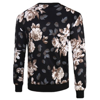 3D Flowers Print Crew Neck Long Sleeve Sweatshirt