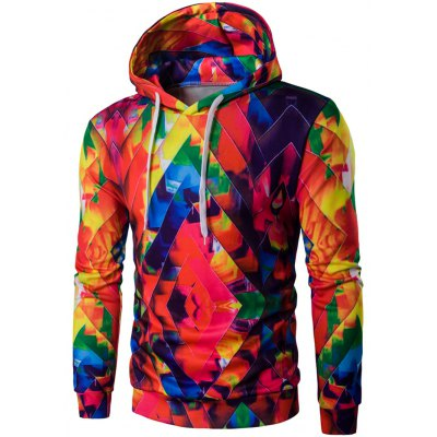Abstract Print Colormix Pullover Hoodie