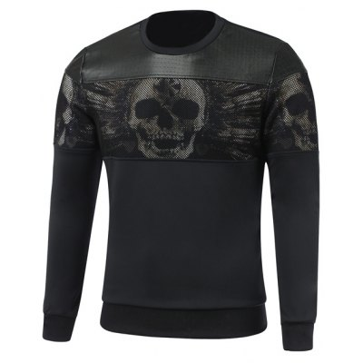 Faux Leather Insert Paneled Crew Neck Skull Sweatshirt