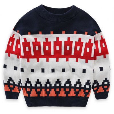 Crew Neck Long Sleeve Geometric Pullover Knit Sweater