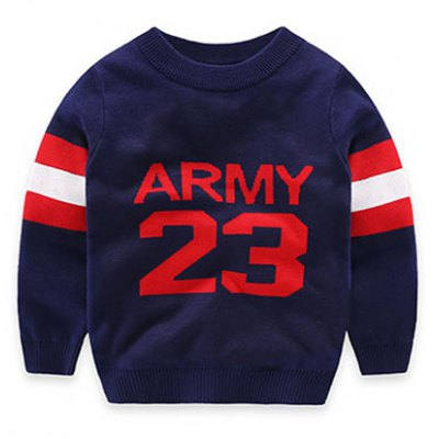 Army 23 Print Pullover Sweater with Red Stripe