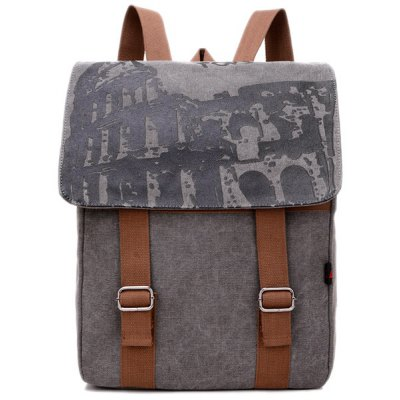 Colour Spliced Printed Canvas Backpack