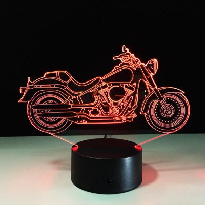 USB 3D Motorcycle Shape Touch Colorful Night Light