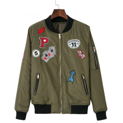 Zip-Up Patched Embroidered Jacket