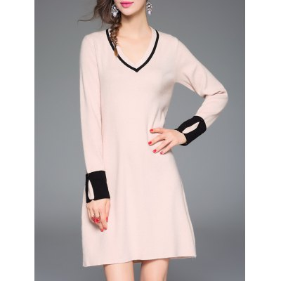 Color Spliced Loose Knitted Dress