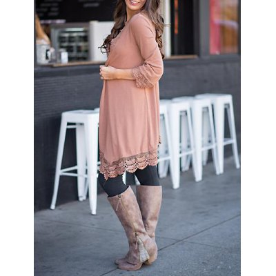 Collarless Lace Spliced Duster Coat