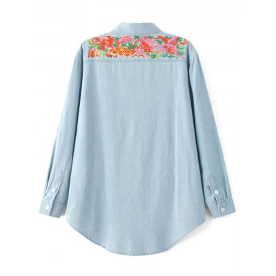 Oversized Embroidered Yoke Denim Shirt