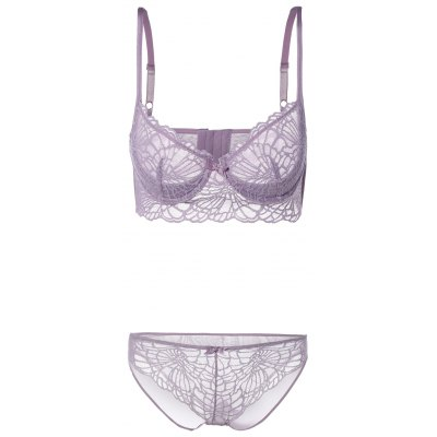 See-Through Lace Longline Bra Panty Set
