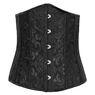 Jacquard Buckle Lace-Up Corset