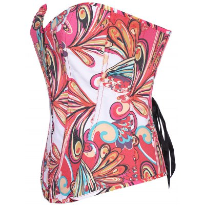 Multicolor Printed Buckle Lace-Up Corset