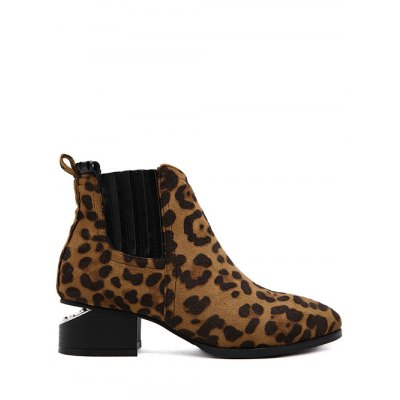 Leopard Print Splicing Ankle Boots