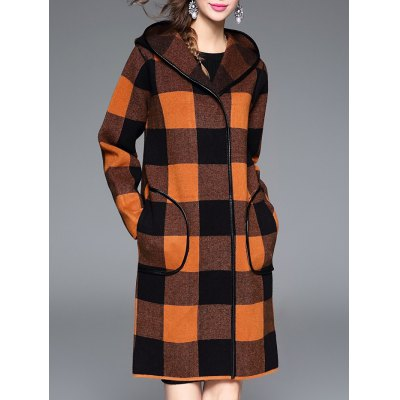 Plaid Hooded Cashmere Coat