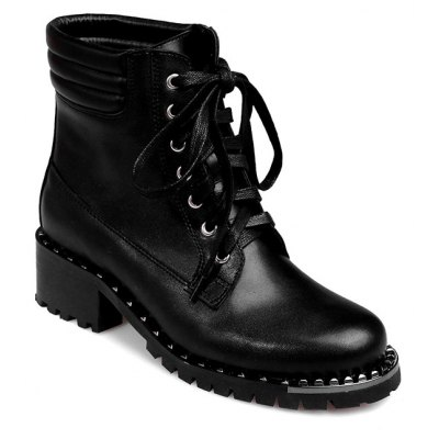 PU Leather Lace-Up Rivets Ankle Boots