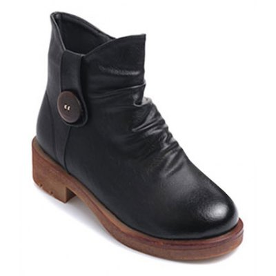 Zipper Button Chunky Heel Ankle Boots