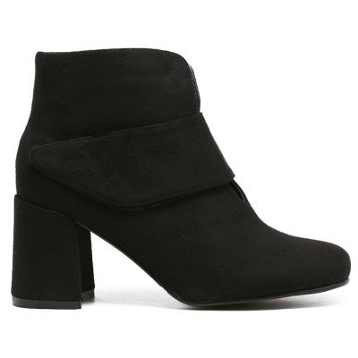 Flock Round Toe Chunky Heel Ankle Boots