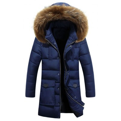 Hooded Faux Fur Lengthen Pockets Design Down Coat