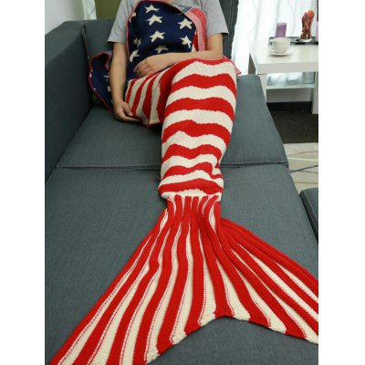 Stars and Stripes Pattern Knitting Mermaid Tail Blanket