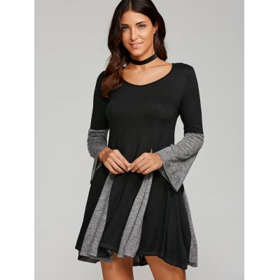 Spliced Fit and Flare Dress