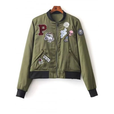 Patched Quilted Thermal Bomber Jacket