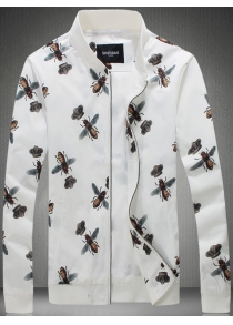 Plus Size 3D Bee and Crown Print Zip-Up Jacket