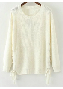 Side Lace Up Open Knit Sweater