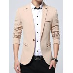 One Button Lapel Edging Embellished Business Blazer
