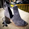 Tassels Peep Toed Chunky Heel Ankle Boots for sale