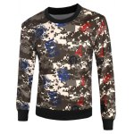 Seal and Camouflage Print Crew Neck Long Sleeve Sweatshirt