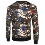 cheap Seal and Camouflage Print Crew Neck Long Sleeve Sweatshirt