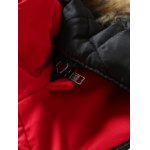 Furry Hood Applique Pockets Zip-Up Padded Coat for sale