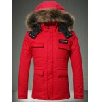 Faux Fur Collar Hooded Applique Pockets Zip-Up Padded Coat