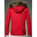 cheap Furry Hood Applique Pockets Zip-Up Padded Coat