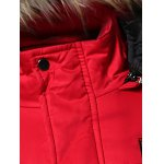 Faux Fur Collar Hooded Applique Pockets Zip-Up Padded Coat deal