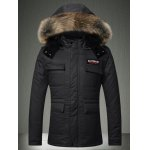 Buy Faux Fur Collar Hooded Applique Pockets Zip-Up Padded Coat XL